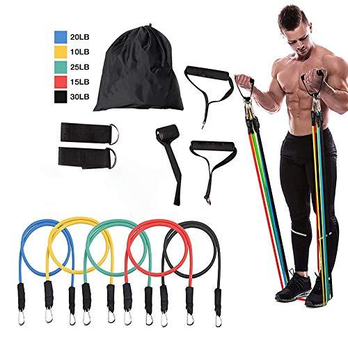 HUJKKL 11pcs / Set Latex-Widerstand-Bänder Gym Tür-Anker-Ankle Straps mit Bag Kit Set Yoga-Übung Fitness Band Gummischlaufe Schlauch Bands