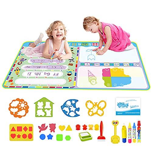 PATPAT® Water Doodle Mat - Aqua Doodle, Toddler Aqua Drawing Activity, Large Mat 120 x 70cm, No Mess Art Water Coloring Drawing Pad Games Educational Toys for Boys & Girls Age 2-13 Year Old