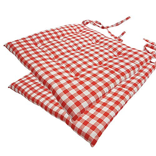 nxtbuy Stuhlkissen 2er Set 40x40 cm Rot Kariert - Gepolstertes Sitzkissen mit Bändern, für Indoor und Outdoor - in vielen Farben erhältlich