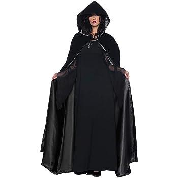 [Jp-fashion]魔女 コスプレ衣装 フード付 ハロウィン 仮装 コスプレ マント クリスマス ブラック パープル レッド