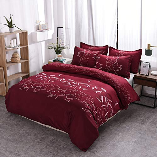 DJY Red Duvet Cover Queen Red Floral Reversible Bedding Duvet Cover Set Soft Microfiber 3 Pieces Comforter Cover with Zipper Closure (1 Duvet Cover + 2 Pillowcases) Solid Flower Bedding Decor 90'x90'