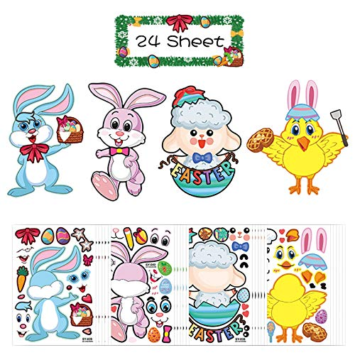 ZERHOK 24 vel Make-A-Bunny/Chick/Sheep/Rabbit Stickers Maak je eigen Pasen Sticker voor kinderen Kinderen Easter Party Game