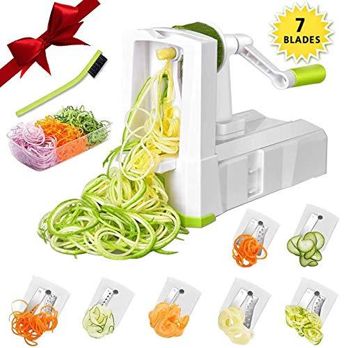 7-Blade Spiralizer Vegetable Slicer, Vegetable Spiralizer Chopper Plus Free Brash&Container &Lid...