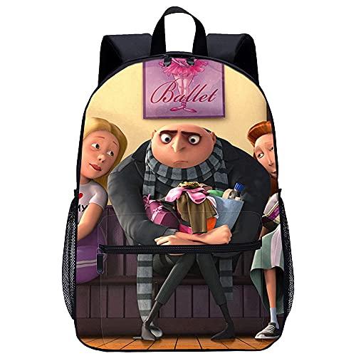 KKASD Zaino scuola per bambini Zaino Cattivissimo Daddy Minions 3D stampatoZaino portatile durevole unisex (45x30x15cm) Zaino scuola