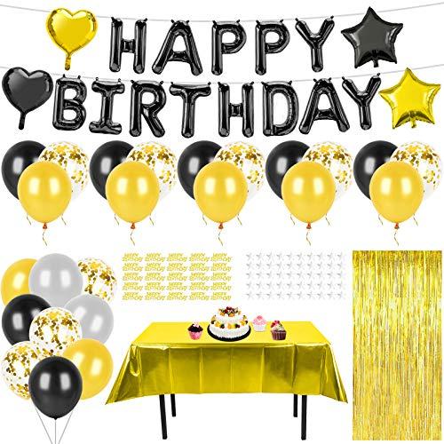 KATELUO Geburtstag Dekoration Schwarz Gold, Happy Birthday Girlande, Latexballons, Konfetti Luftballons, Herz Stern Folienballon, Tischdecke, Glitzer Vorhang, Geburtstag Deko für Männer Frauen