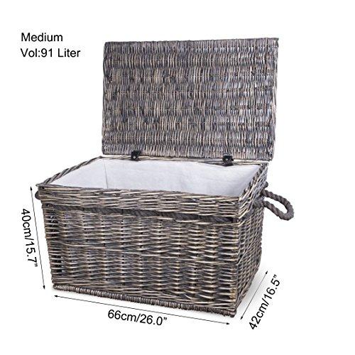 Premium Wicker Trunk Baby Nursery Toys Blanket Storage Chest Basket Box Bedside (Medium)