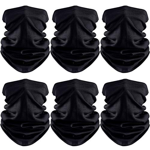6 Pieces Sun UV Protection Neck Gaiter Scarf Summer Face Cover Cooling Balaclava Breathable Bandana Black