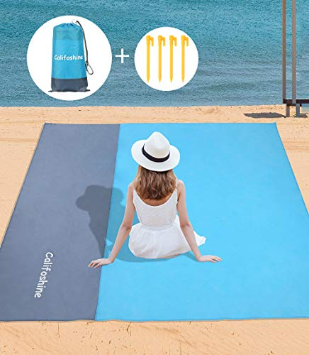 "Califoshine Beach Blanket 83""x79"" Large Size Sand Free Waterproof Beach Mat for 2-7 Adults Light Weight Portable Rug Quick Drying Picnic Mat for Parks Travel Hiking Camping Fishing Outdoor Party"