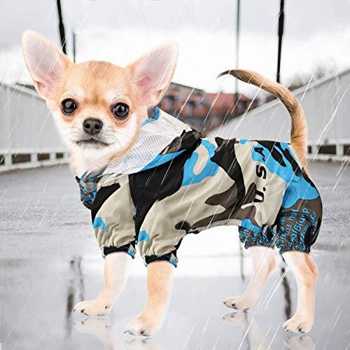 Idepet Impermeabile per cani,Poncho impermeabile per la pioggia per cani Giacca antipioggia per cuccioli antivento con cappuccio e foro per l'imbracatura per cani di taglia piccola e media Cuccioli