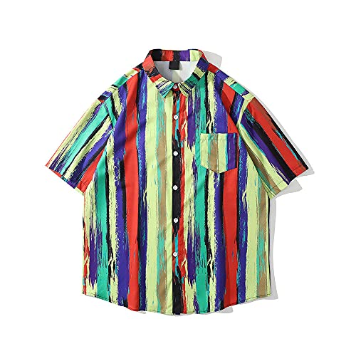 Qier Tshirt Herren,Hawaii-T-Shirt,Oversize Graphic Summer Holiday Beach Casual Tee,Corlorful Streifenoberteile,Corlorful,L