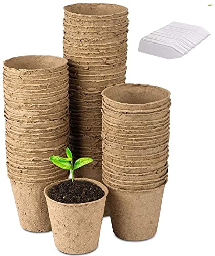 LATERN 100Pcs 8cm Vasi per Semi in Fibra Biodegradabile per Piantine e Trapianti con Etichette 100pcs in Plastica per Piante (Bianco 5x1cm)