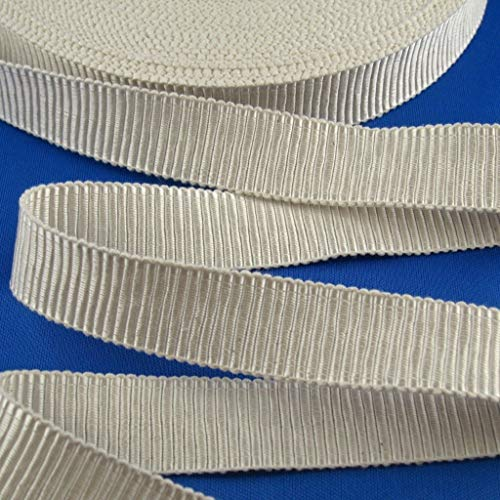 kawenSTOFFE Ruban gros-grain – Chapeau stable – 25 mm Ruban – blanc crème – Coton – Viscose