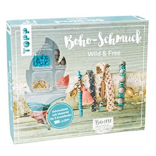 Boho-Schmuckset Wild & Free (Türkis/ Lachs): Anleitung und Material für 5 Armbänder im Boho Look zum Selbermachen. Bänder, Biegeringe, Perlen und Anhänger. Nickelfrei