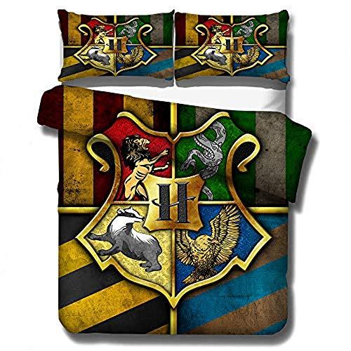 Harry Potter - Funda nórdica suave 100% microfibra Hogwarts School of Magische Academy para niños y adultos, regalo (01,200 x 200 cm (50 x 75 cm)