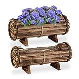 Relaxdays Jardinera de Madera, Juego de 2 maceteros de Madera, 18 x 40 x 14 cm, para Interior y Exterior, Barril con lámina, Color marrón