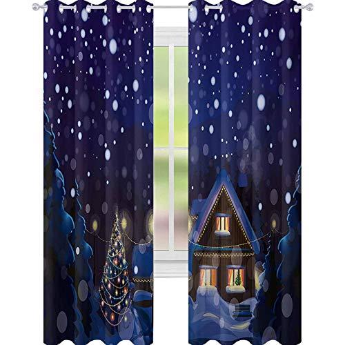 YUAZHOQI - Cortinas navideñas para sala de estar, invierno, noche, paisaje, con casita entre pinos y nieve, 132 x 182 cm, elegantes para sala de estar, azul marino, amarillo