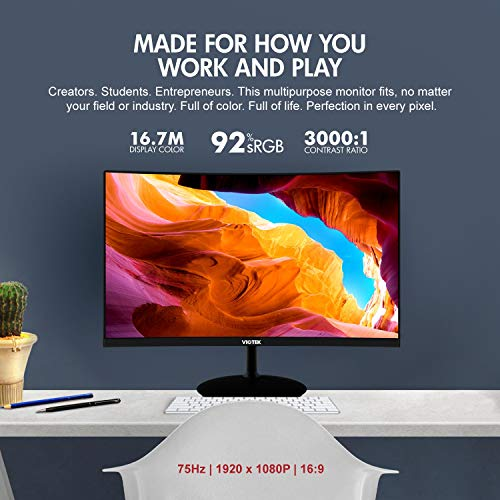 VIOTEK NBV24CB 24-Inch Curved Monitor | 75Hz FHD 1080p Desktop Monitor for Office, Home or Business | HDMI VGA 3.5 Audio-Out | 3-Year Buyer Protection (VESA)