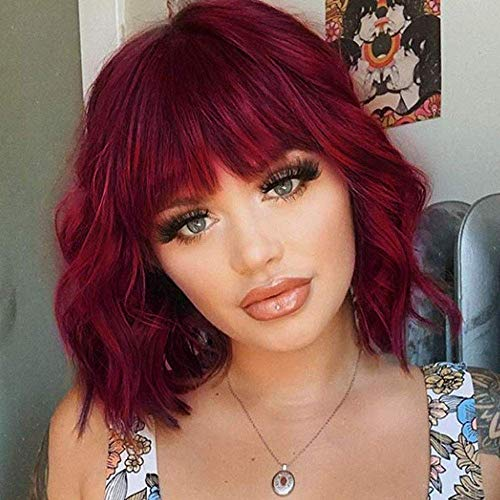 ENTRANCED STYLES Synthetic Curly Bob Wig with Bangs Short Bob Wavy Hair Wig Wine Red Color Shoulder Length Wigs for Women Bob Style Synthetic Heat Resistant Wigs