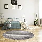 MyShop24h Alfombra redonda – gris – pelo corto – 160 x 160 cm – Salón dormitorio moderno jaspeado – Oeko Tex 100 estándar apto para alérgicos