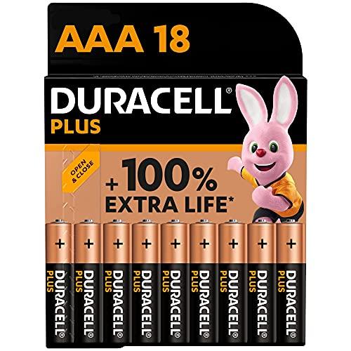 Duracell - NUOVO Plus AAA, Batterie Ministilo Alcaline, Confezione da 18, 1.5 volt LR03 MN2400