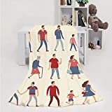 959 Custom Personalized Set of Cartoon People in Various lifestles and Ages - - Universit,Throw Blanket Soft Fuzz Microfiber Sofa Couch Blanket Walking 40''x50''(WxL)