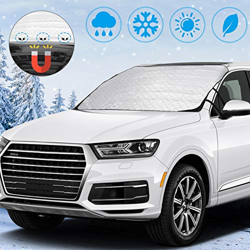 NiceCare Car Windshield Snow Ice Cover Car Snow Cover with Magnets Straps and 4 Layers Protection Snow Ice Sun Frost Defense, Extra Large Windshield Winter Cover Fits Most Cars SUV