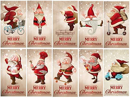 Juego de 10 divertidas tarjetas de Navidad con diseño de Papá Noel, 14,8 x 10,5 cm, estilo retro, 10 unidades