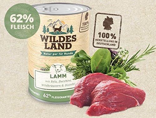 Wildes Land | Nassfutter für Hunde | Nr. 1 Lamm | 6 x 400 g | mit Reis, Zucchini, Wildkräutern & Distelöl | Glutenfrei | Extra viel Fleisch | Beste Akzeptanz und Verträglichkeit