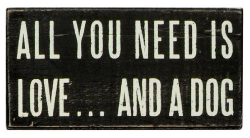 Primitives by Kathy 16347 Classic Box Sign, 5 x 2.5-Inches, Love And A Dog