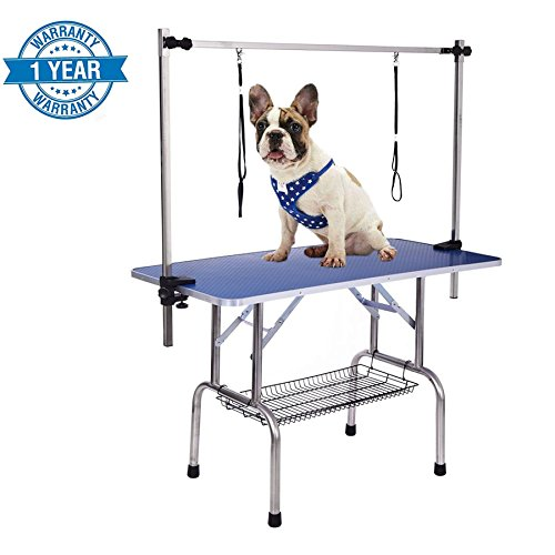Gelinzon Pet Dog Grooming Table,Adjustable Overhead Pet Grooming Arm With Clamps And Double Loop (46' Blue)