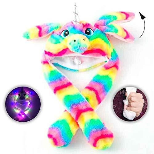 Gorro Unicornio Rainbow Peluche con Orejas Que se mueven y luz