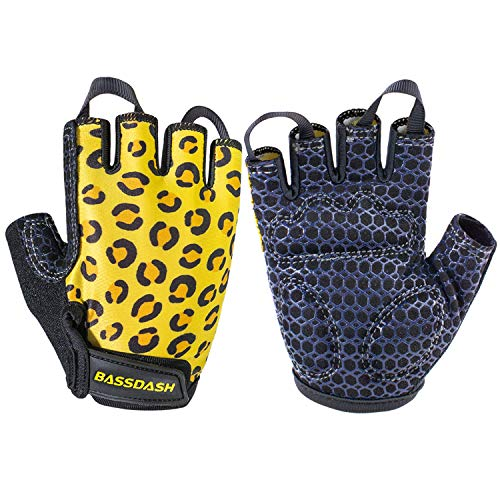 BASSDASH UPF 50+ Kids' Gloves with Padded Grippy Palm UV Protection for Bicycles Fishing for 1-8 Years Old Boys Girls (Leopard, Large)