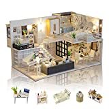 GuDoQi DIY Maison Miniature, 3D Maison Poupee Bois Kit avec Meubles et Musique, Lumière LED, Kit de Modèle Fait À La Main À Construire, Maison de Vie Simple