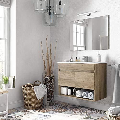 MarinelliGroup Mobile Bagno 80 cm sospeso con lavabo in Ceramica e Specchio con Ante Rovere. Erika