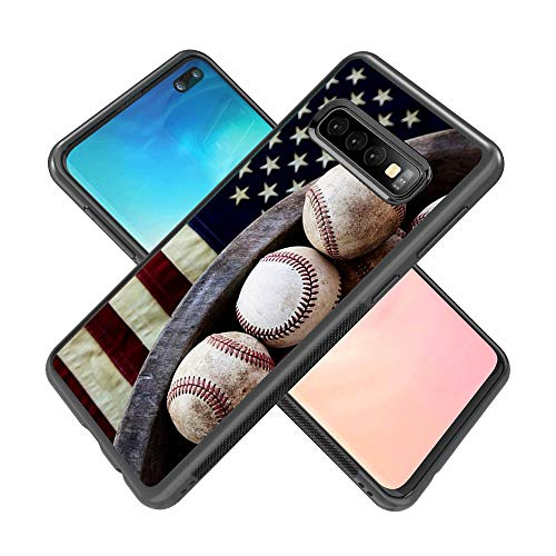 Samsung Galaxy S10 Plus Case,Flexible Soft TPU Cover Shell,Slim Silicone Black Rubber Non-Slip Durable Design Protective Phone Case for Samsung Galaxy S10 Plus -Baseball and Flags