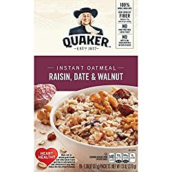 Quaker Instant Oatmeal, Raisin, Date & Walnut, Breakfast Cereal, 10 Packets