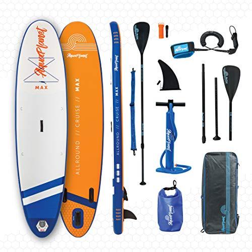 """aquaplanet 10ft 6"""" x 15cm MAX Stand Up Paddle Board kit. Air Pump with Pressure Gauge,Adjustable Aluminium Floating Paddle, Repair Kit,Heavy Duty Rucksack,Premium Leash & 4 Kayak Seat Rings"""