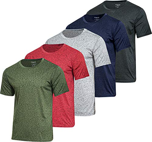 Men's Quick Dry Fit Dri-Fit Short Sleeve Active Wear Training Athletic Essentials Crew T-Shirt Fitness Gym Wicking Tee Workout Casual Sports Running Undershirt Top - 5 Pack,-Set 11,M