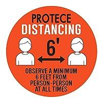 Jhjsdui 安全標識 ソーシャルディスタンス 5枚セット 社会的 距離 表示シール 距離を維持 距離 ステッカー 行列 間隔 床用シール レジ待ち スーパーマーケットで使用 6インチ 直径27.94cm 滑り止めステッカー 粘着ステッカー 防水・耐熱 フロア 屋内用(04)