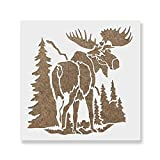 Moose in The Woods Stencil Template for Walls and Crafts - Reusable Stencils for Painting in Small & Large Sizes