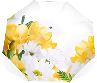Earth Chrysanthemum Flowers White Yellow Travel Umbrella with Windproof Double Canopy - Auto Open/Close Button
