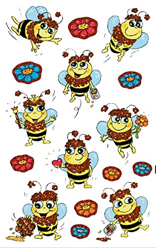 AVERY Zweckform 56064 Kinder Sticker Bienen (Glitzerfolie) 16 Aufkleber