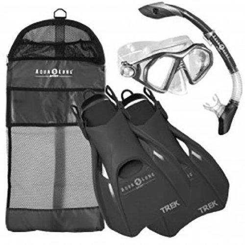 Aqua Lung Sport Admiral 2 LX, Island Dry LX & Trek Snorkeling Set Small Black/Grey
