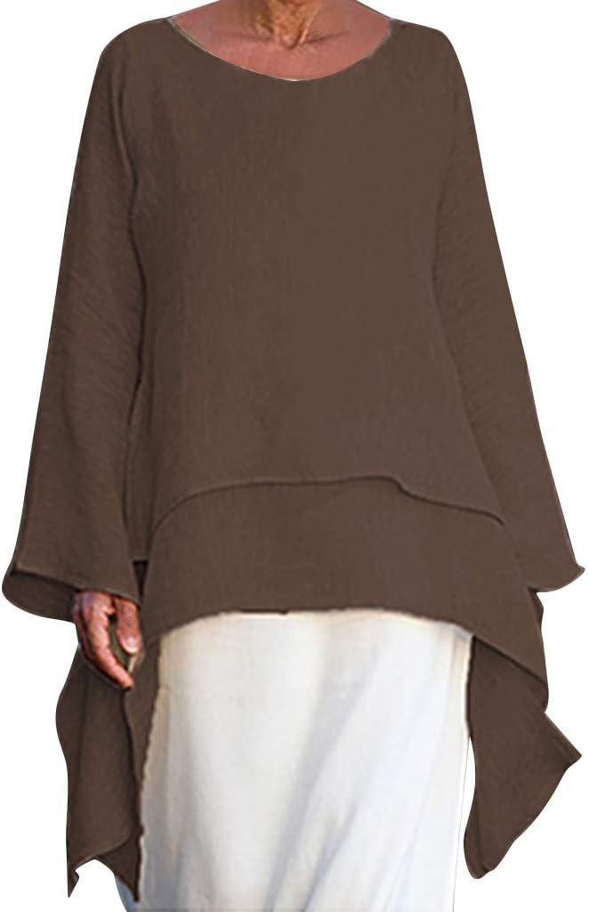 YONGM Womens Sleeveless Solid Color Stitching Hem Round Neck Slim Fit Fake Two Shirt