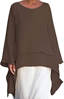 Irregular Hem Shirt t Women Fashion Plus Size Casual Linen Top Long Sleeve Crew Neck Blouse