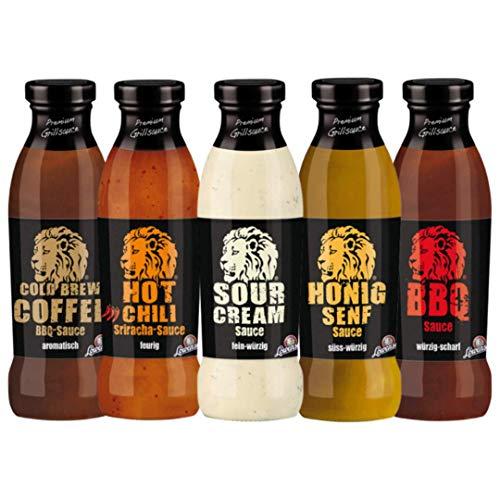 LÖWENSENF – Feinkostsaucen Set - Sour Cream - BBQ - Hot Chili Sriracha - Honig-Senf - Cold Brew Coffeeold Brew Coffee BBQ Sauce – 5x 230 ml Glasflaschen