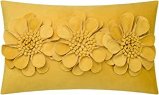 JWH 3D Rose Flowers Accent Pillow Case Velvet Cushion Cover Home Sofa Bed Living Room Office Chair Car Travel Decor Pillowslip Gift 12 x 20 Inch Golden Yellow
