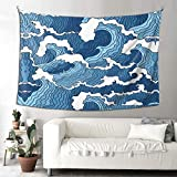 LEEYIEN Tapestry Wall Hanging Japanese Abstract Blue and White Wavewall Tapestry with Art Nature Home Decorations for Living Room Bedroom Dorm Decor in 4 Size Options