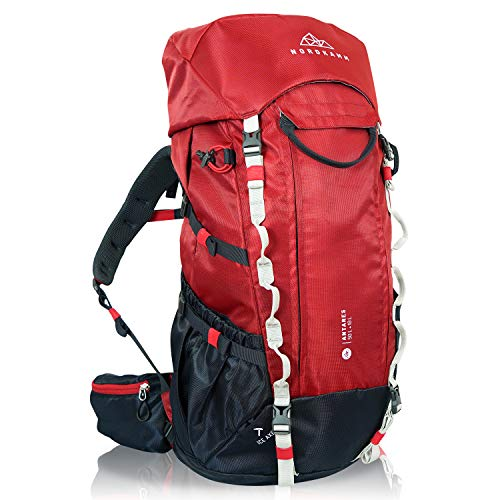 NORDKAMM バックパック 50L + 10L 大容量 軽量1.7kg 防水 レインカバー ザック 長期旅行 登山 防災 アウトドア【日本語説明書・正規1 付】 (日本正規版) 60リットル (日本正規版レッド)