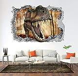HUJL Pegatinas de pared Vinilo de dinosaurio 3D pegatinas de pared rotas...